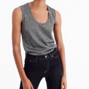 NWOT J. Crew Sparkle Scoop Neck Tank in Silver